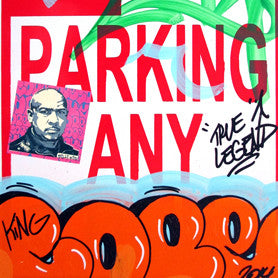 "COPE 2 - ""Orange Classic Bubble 32"" No Parking Sign"
