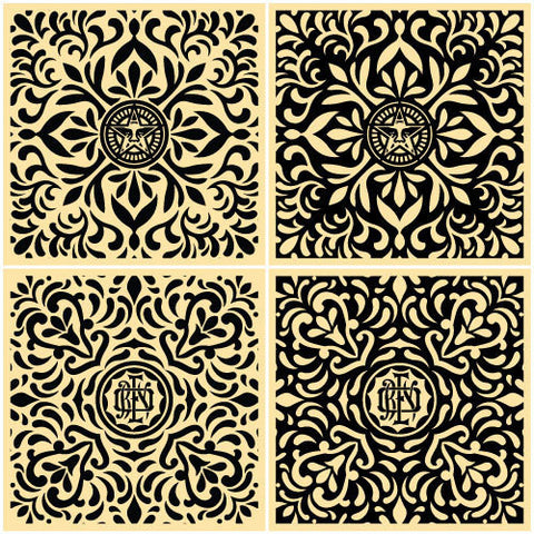 "SHEPARD FAIREY - ""Japanese Fabric Pattern"" (Black Set)"