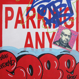 "COPE 2 - ""Red Classic Bubble 35"" No Parking Sign"