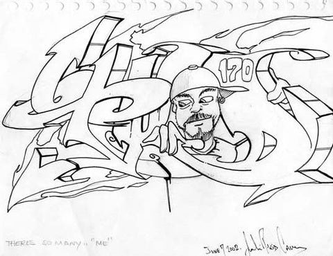 "T-KID 170  ""There's So many"" (me)  Black Book Drawing"