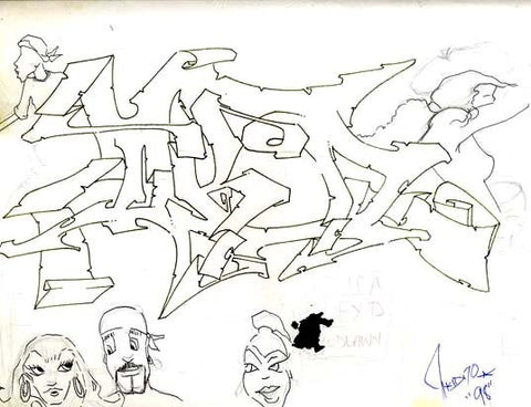 "T-KID 170  ""Untitled#3""  Black Book Drawing"