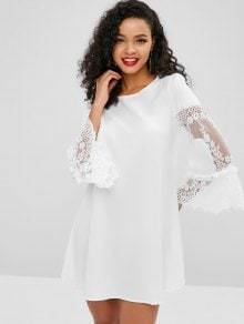Elegant Party Round Neck Long Flare Sleeve Lace Hollow Out Mini Dress