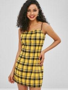Yellow Plaid Sleeveless Backless Off Shouder Mini Dress