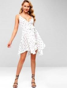 Sweet Dot Printed White Ruffles Bow Lace-up Strap Sexy V neck Backless Dress
