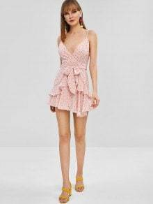Polka Dot Pink Ruffles Sleeveless Spaghetti Strap V Neck Mini Dress
