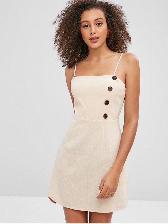 Cotton Buttoned Cami A-Line Mini Dress