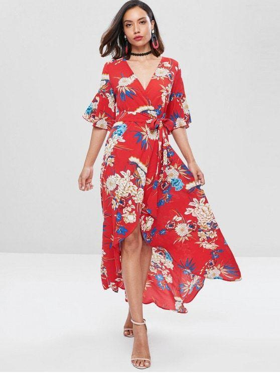 Bell Sleeve Floral Faux Wrap Long Maxi Dress