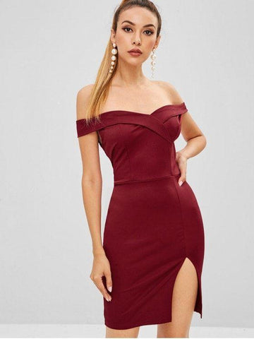 Short Sleeves Foldover Bodycon Mini Party Dress