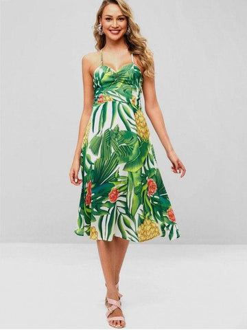 Hot Selling Strappy Open Back Tropical Print Midi Dress