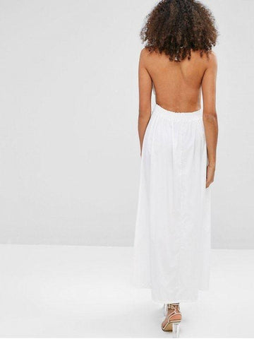 Sexy Hot Selling Crochet Bodice Halter Maxi Beach Dress