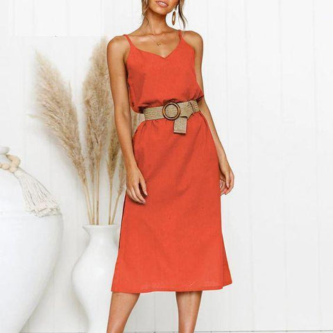 Bohemian spaghetti strap no belt midi dress