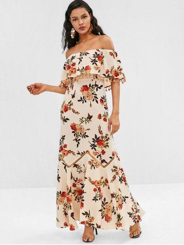 Bohemian  Tassel Flounce Flower Print Long Maxi Dress