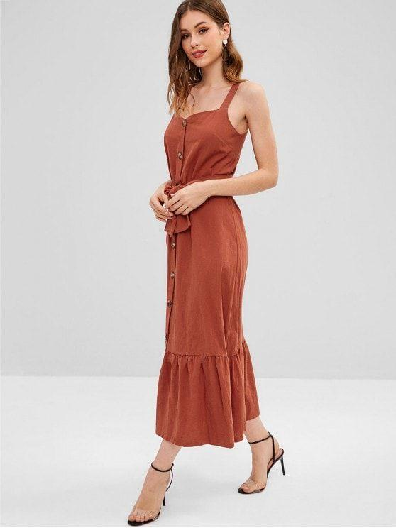 Pretty Button Up A Line Maxi Dress