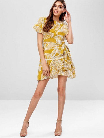 Casual Leaf Flare Sleeve Ruffle Mini Dress
