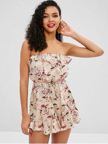 Hot Selling Floral Print Silky Ruffled Bandeau Dress