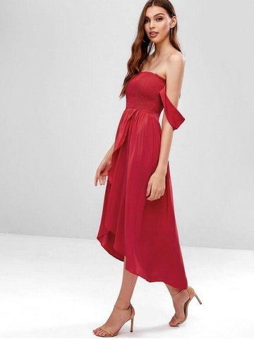 Hot Fashion Smocked Off Shoulder Asymmetrical Dress
