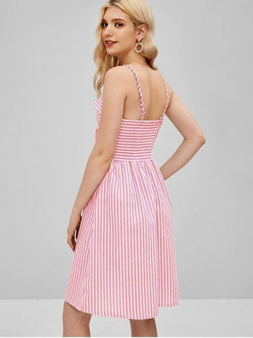A Line Striped Cami Tie Front Dress-Pink