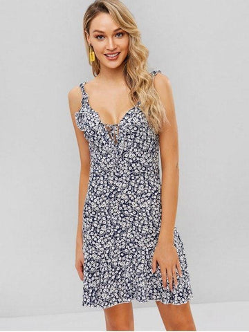 Backless Floral Low Cut Frilled Dress