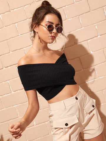 Bardot Crossover Crop Top
