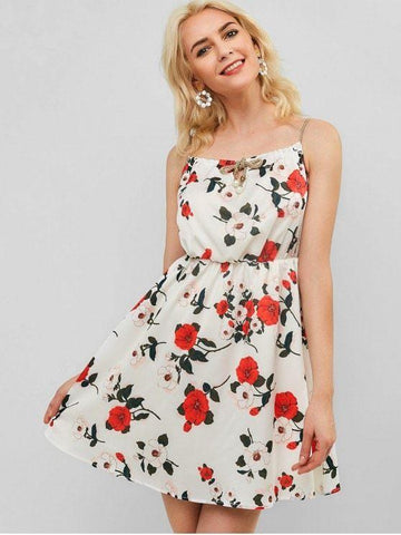 Beaded Embellished Floral Print Cami Dress