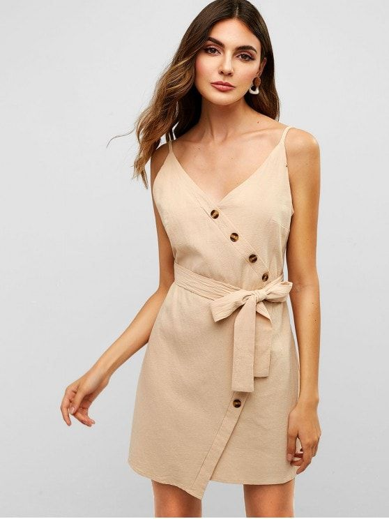 Belted Buttoned Cami Dress
