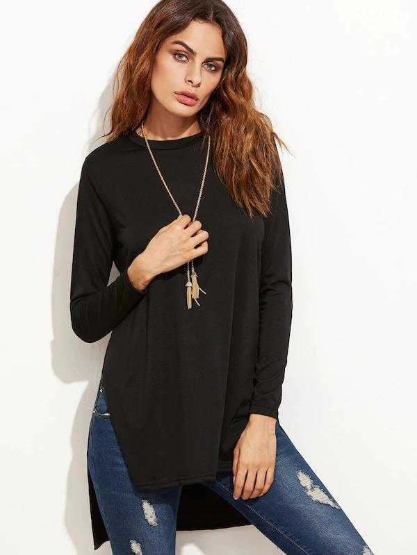 Black Slit Side High Low T-Shirt