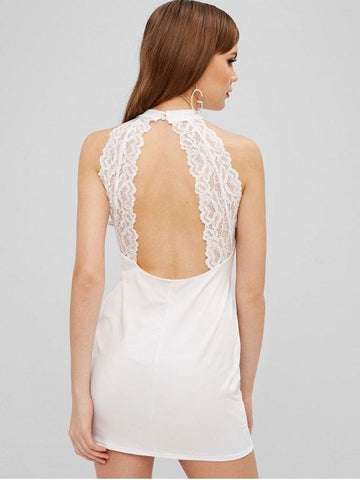 Bodycon Lace Panel Short Dress