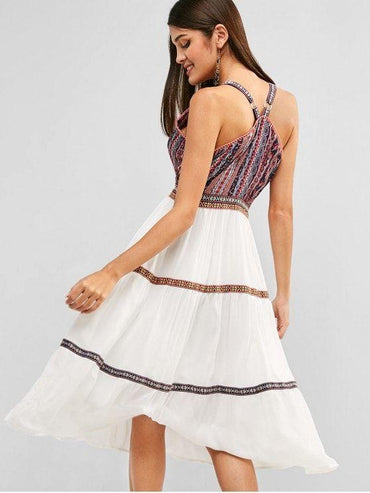 Bohemian Print Surplice Midi Dress - Multi S