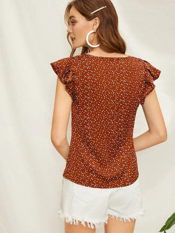 Butterfly Sleeve Polka Dot Blouse