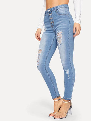 Button Front Faded Distressed Jeans