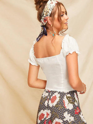 Button Front Frill Trim Top