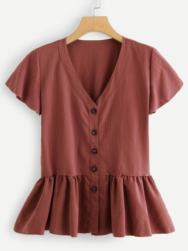 Button Through Peplum Tea Top