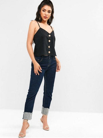 Spaghetti Strap Button Up Cami Top