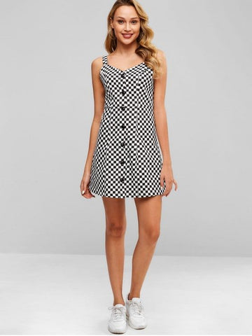 Button Down Checkered Dress