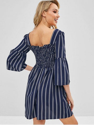 Button Up Smocked Striped Mini Dress