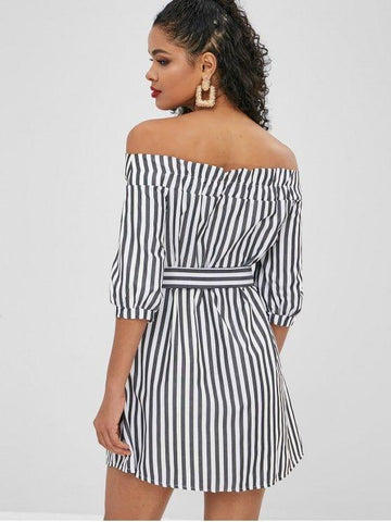 Button Up Stripes Off Shoulder Dress