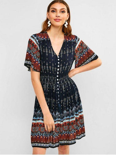 Button Up Tassels Printed Dress