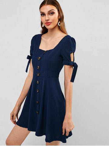 Buttoned Knotted Square Mini Dress
