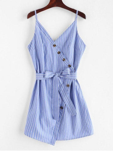 Buttoned Stripes Cami Dress Blue Koi