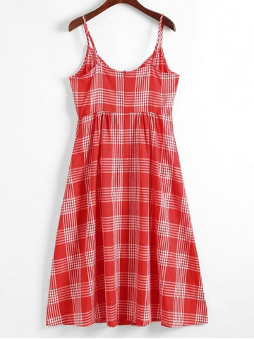 Buttons Embellished Gingham Cami Dress