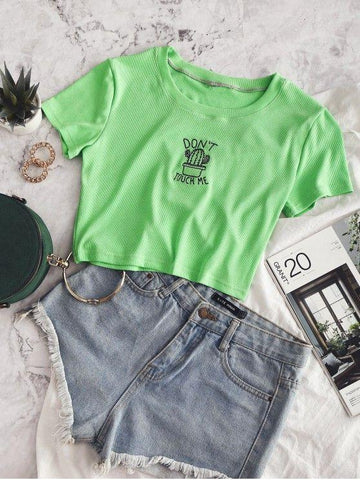 Cactus Embroidered Ribbed Crop Tee