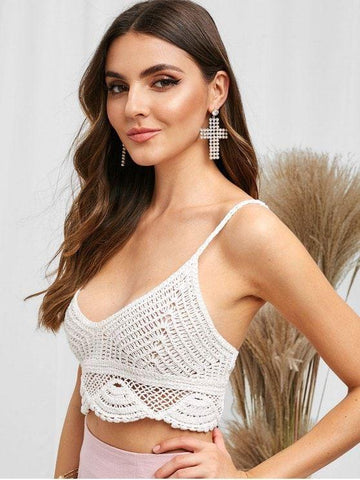 Spaghetti Strap Cami Scalloped Crochet Tank Top