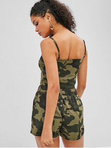 Camouflage Cami Top And Shorts Set