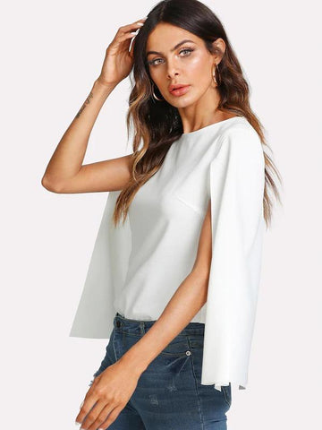Cape Sleeve Buttoned Keyhole Back Top