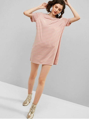 Casual Stripes Tee Dress - Pig Pink