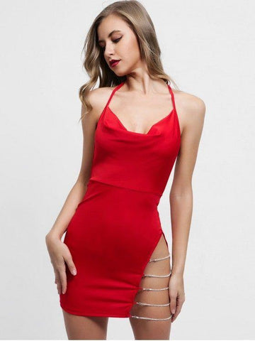 Chains Embellished Backless Halter Dress