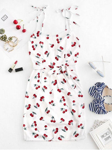 Cherry Print Belted Cami Dress White
