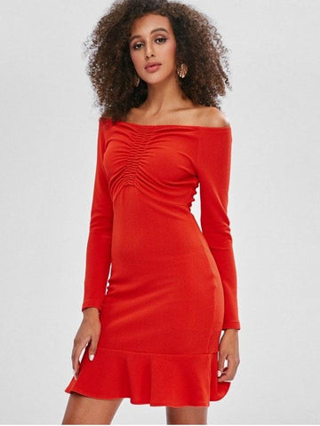 Cinched Off Shoulder Ruffles Mini Dress