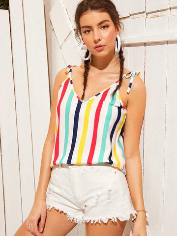 Colorful Striped Knot Cami Top
