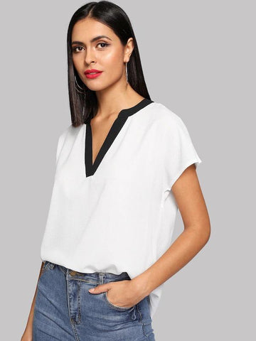 Contrast Trim V Neck Curved Hem Blouse